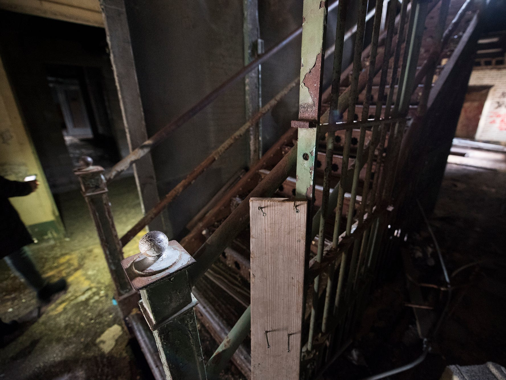 This is the central staircase from inside of the foyer inside the old York County Prison.
