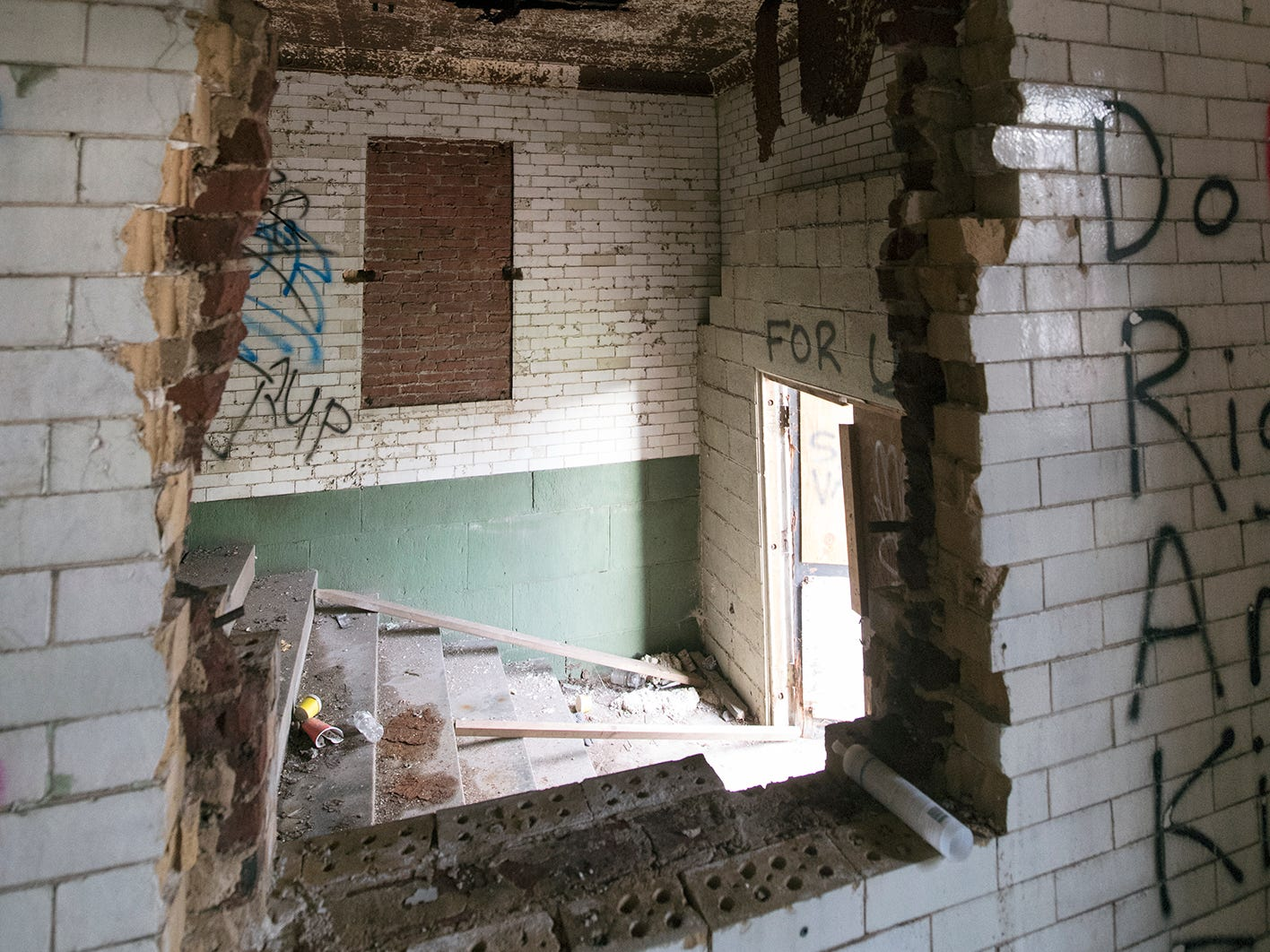 This is looking into the front foyer from a side room inside the old York County Prison.