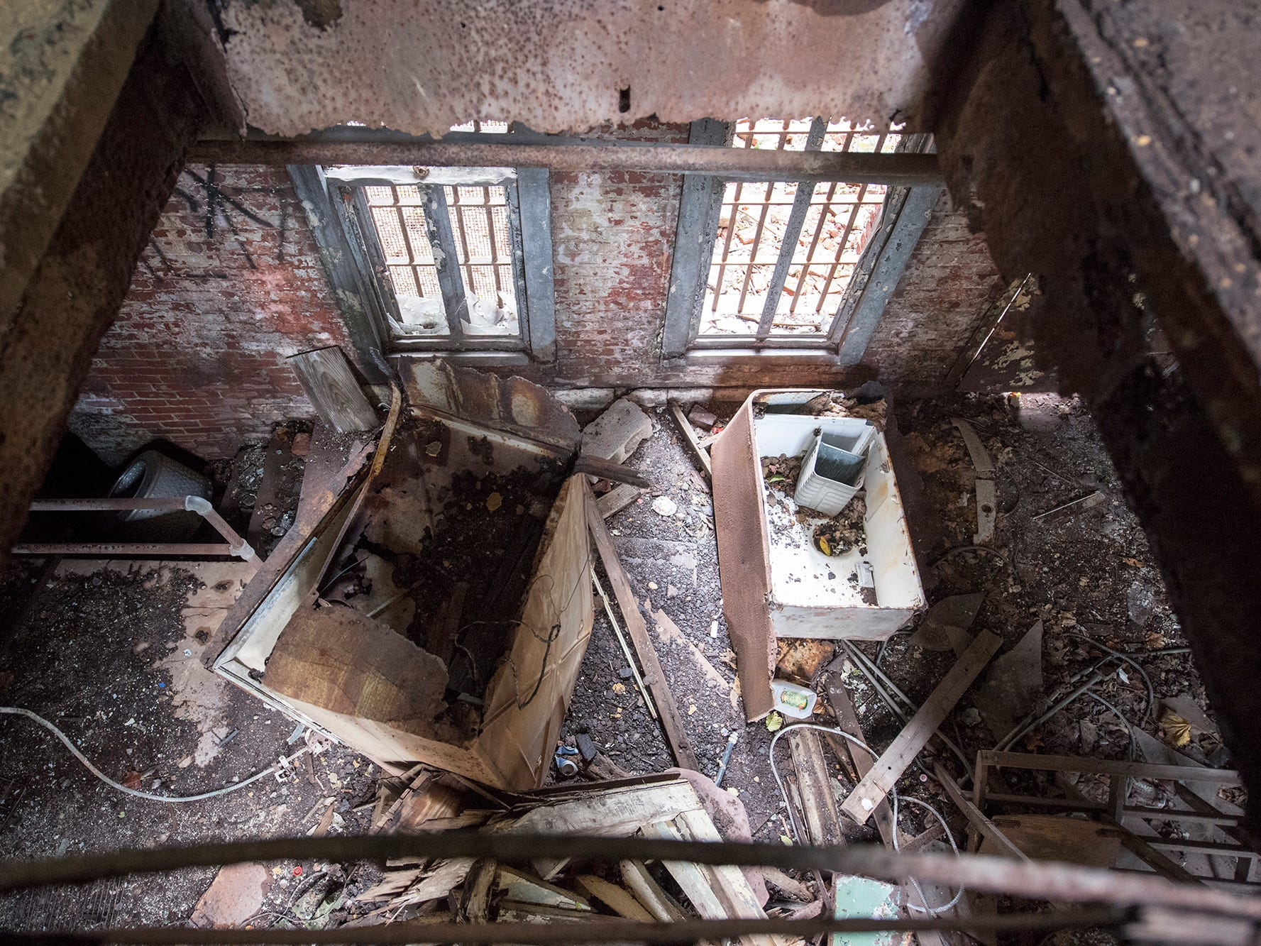 This is looking down inside the trap door of what some say were the gallows at the old York County Prison.