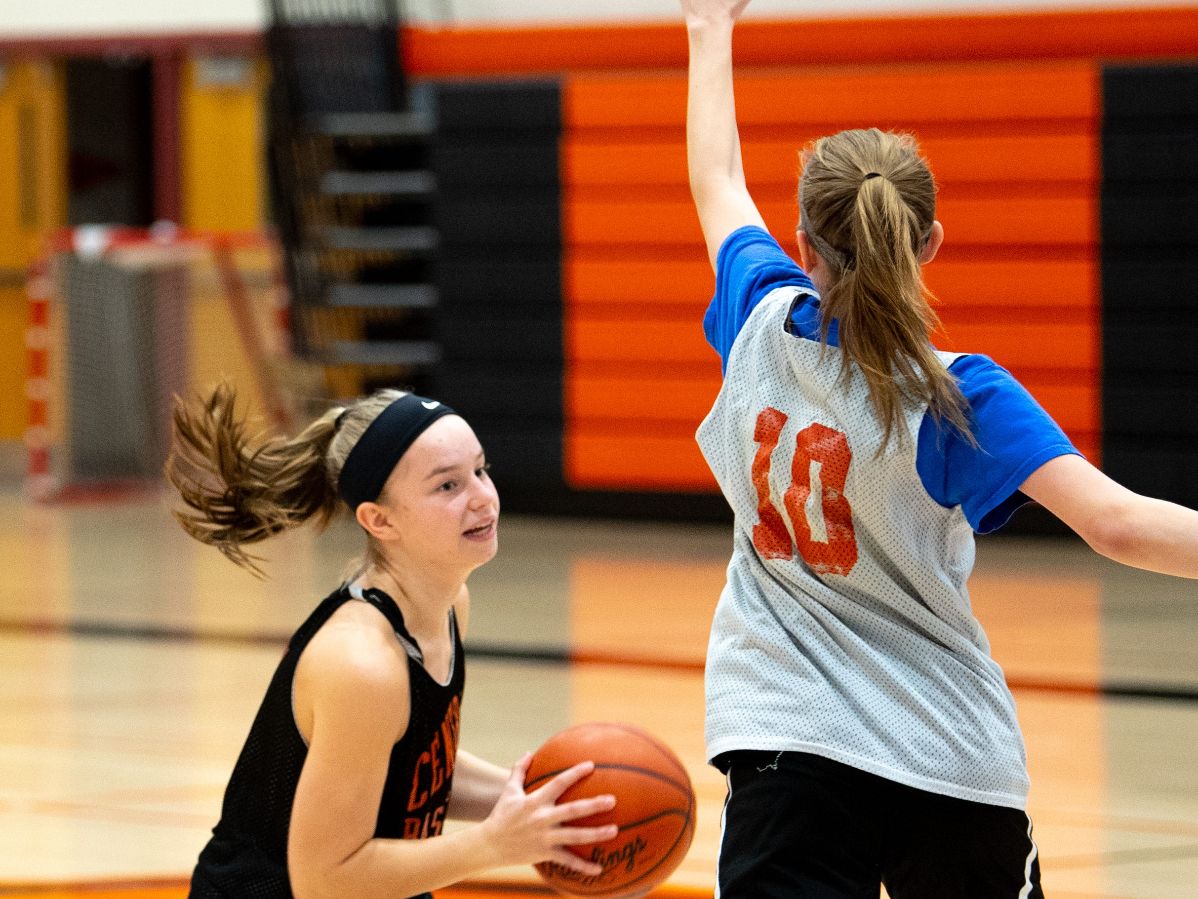 Central York girls' basketball players frequently pump fake during practice, Wednesday, November 21, 2018.