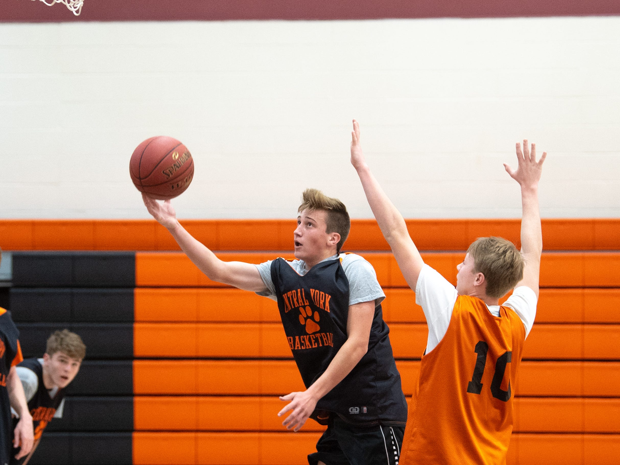 Central York boys' basketball players go head to head during practice, Wednesday, November 21, 2018.