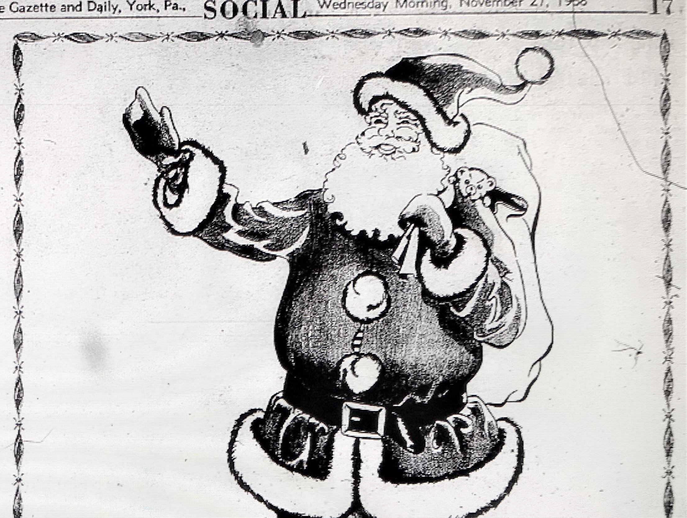 A 1958 advertisement inside an issue of the York Gazette and Daily for a Santa Claus meet and greet in Bear's department store. Bear's was located in Continental Square. The building is now being re-purposed for One Marketway West.