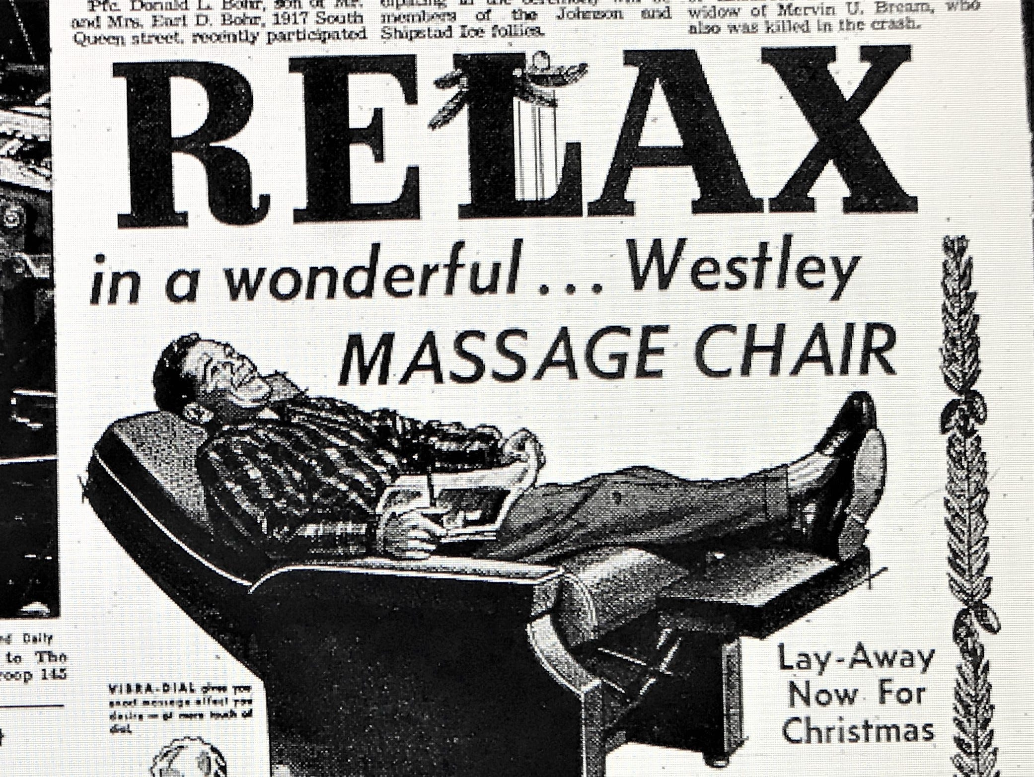 A 1958 ad for a $69 recliner at Westley's in downtown York. The holiday promotion appeared in the morning edition of the York Gazette and Daily on Wednesday, November 26, 1958.