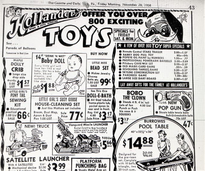 A 1958 holiday advertisement for Christmas toys at Hollander's Home and Auto Supplies. The promotion appeared in the Friday morning edition of the York Gazette and Daily on November 28.