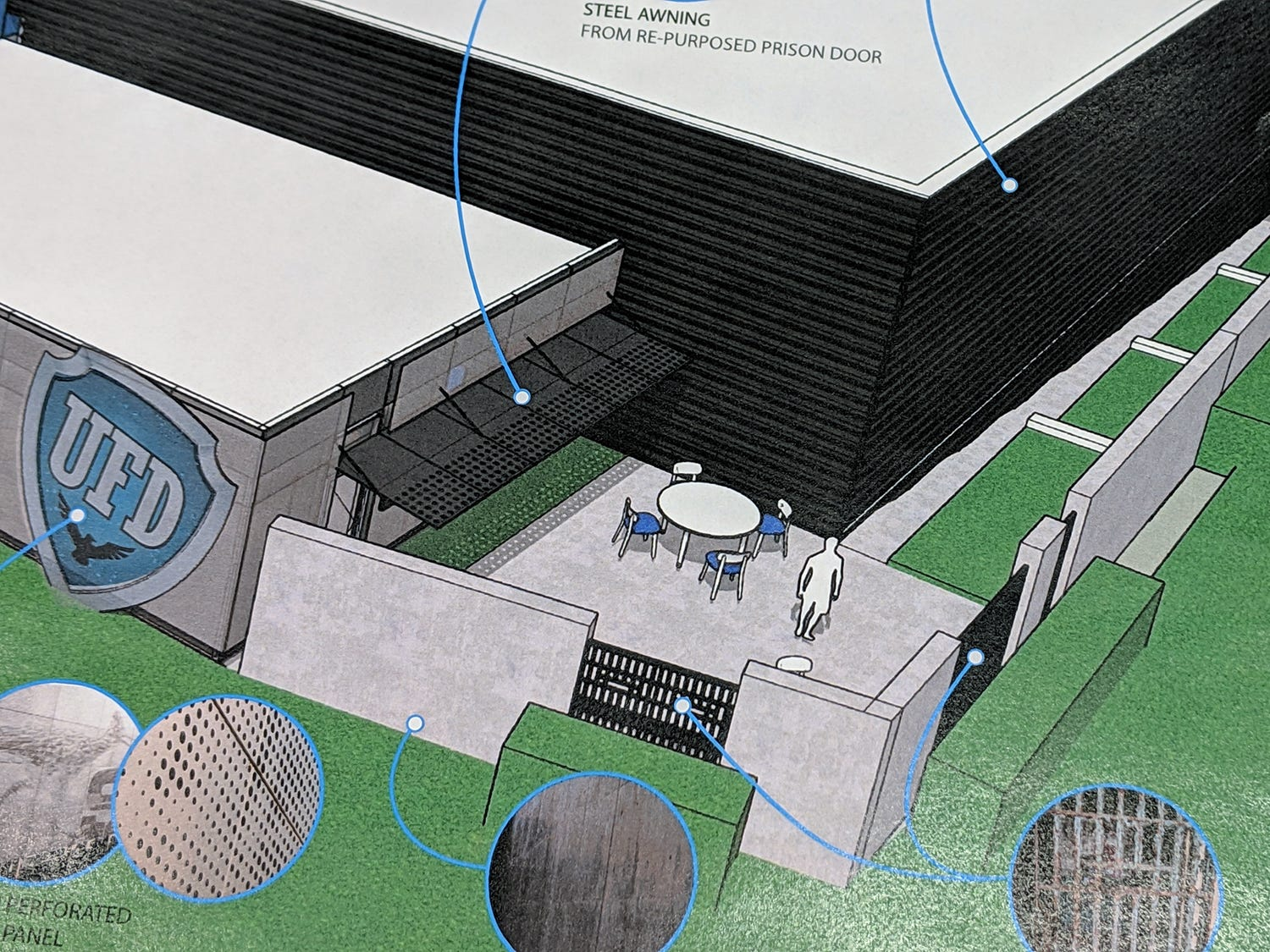 Pieces taken from the interior of the old York County Prison will be incorporated into the new structure. This is an artist's rendering of the new UFD data center that will incorporate the old prison. The renderings are by Warehaus.
