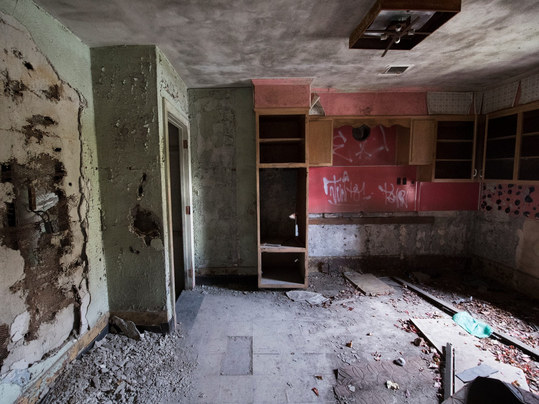 What is left of a kitchen area for staff is seen inside the old York County Prison.