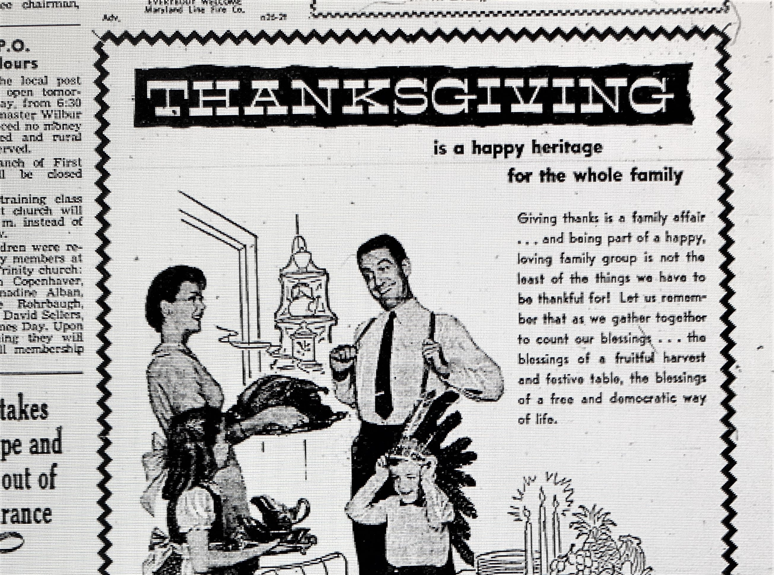 A Thanksgiving ad from Smith Village home furnishing in Jacobus. The advertisement appeared in the Wednesday morning edition of the York Gazette and Daily on November 26, 1958.
