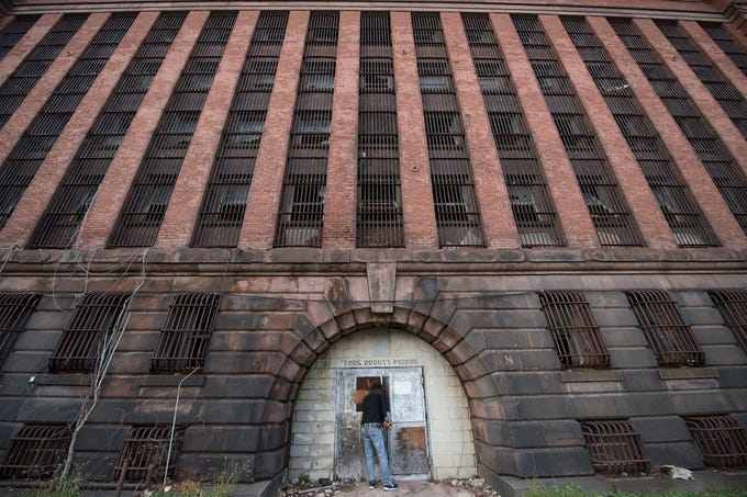This is the facade of the old York County Prison on East Chestnut Street in York. United Fiber & Data plans on gutting the interior and using it as part of a new data center. The prison has sat vacant since 1979.