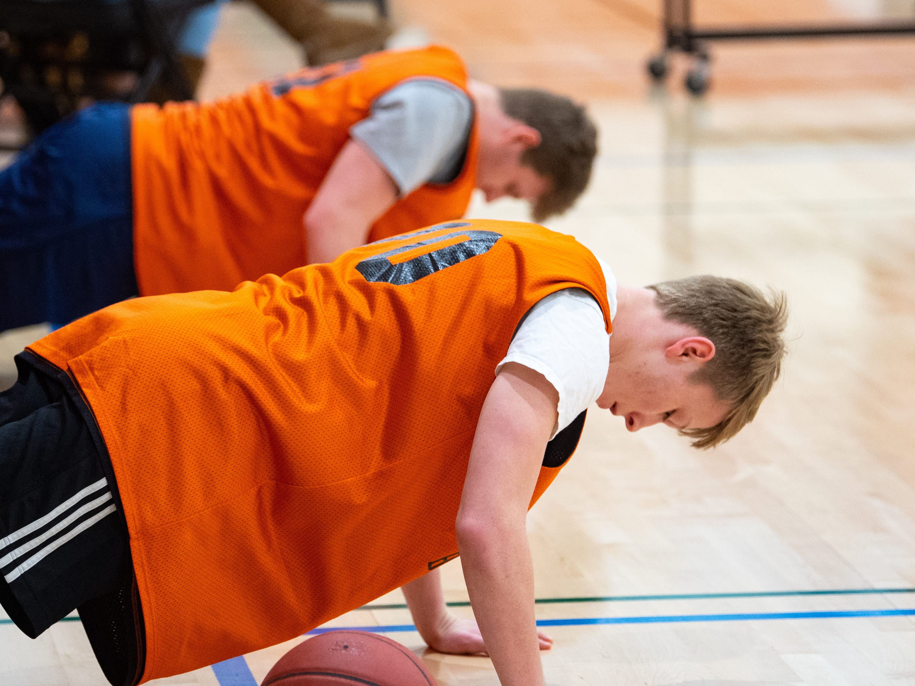Central York's boys' basketball team builds their strength during practice, Wednesday, November 21, 2018.