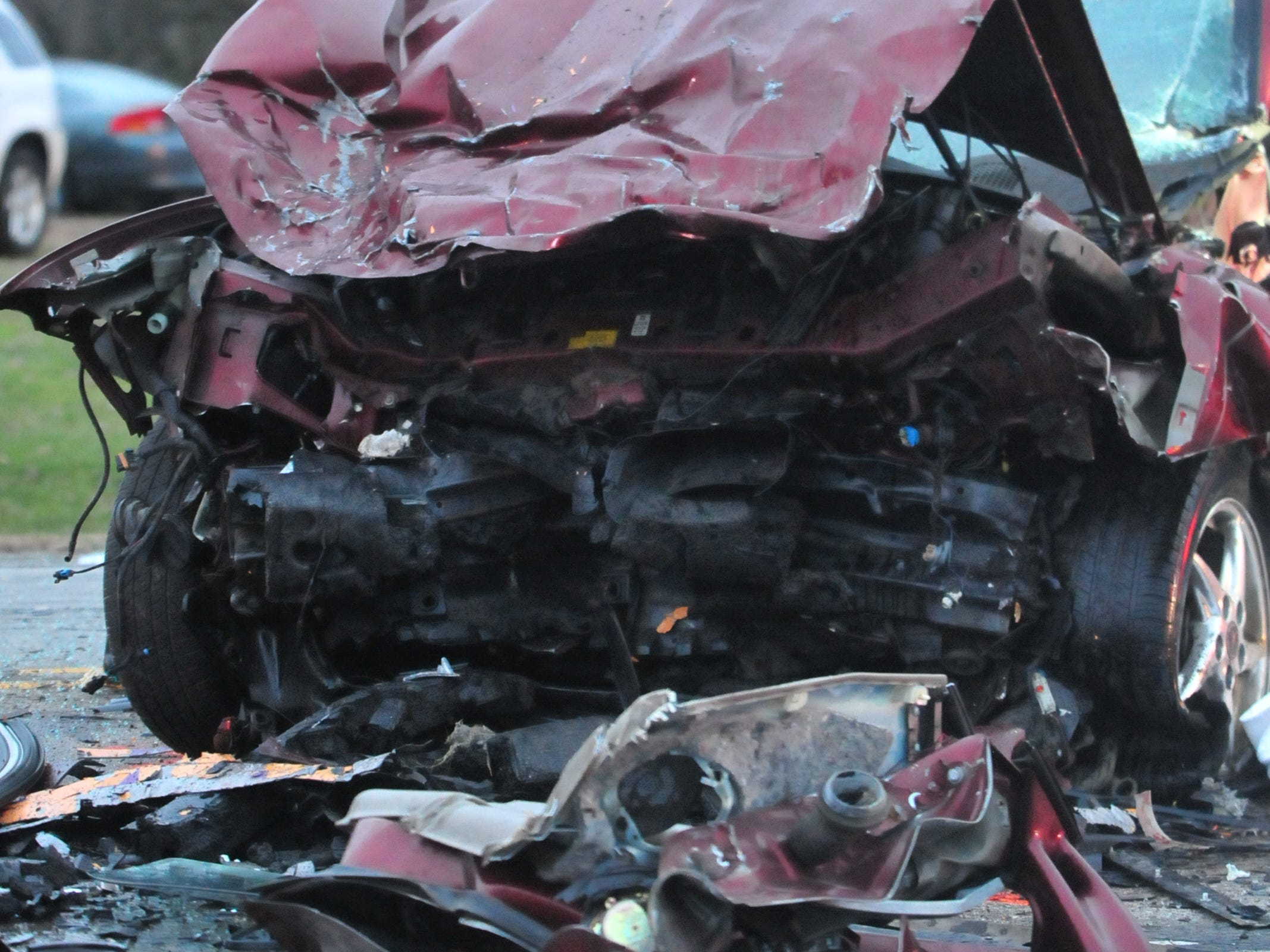 A Pontiac Grand Prix was damaged Tuesday during a head-on collision with a Ford van on Salisbury Road.