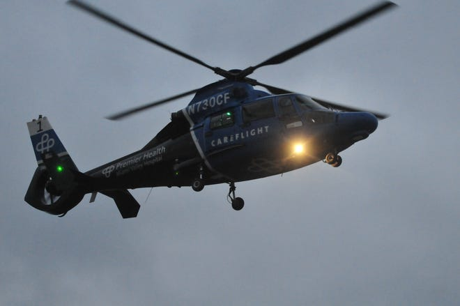 A CareFlight helicopter comes in for a landing.
