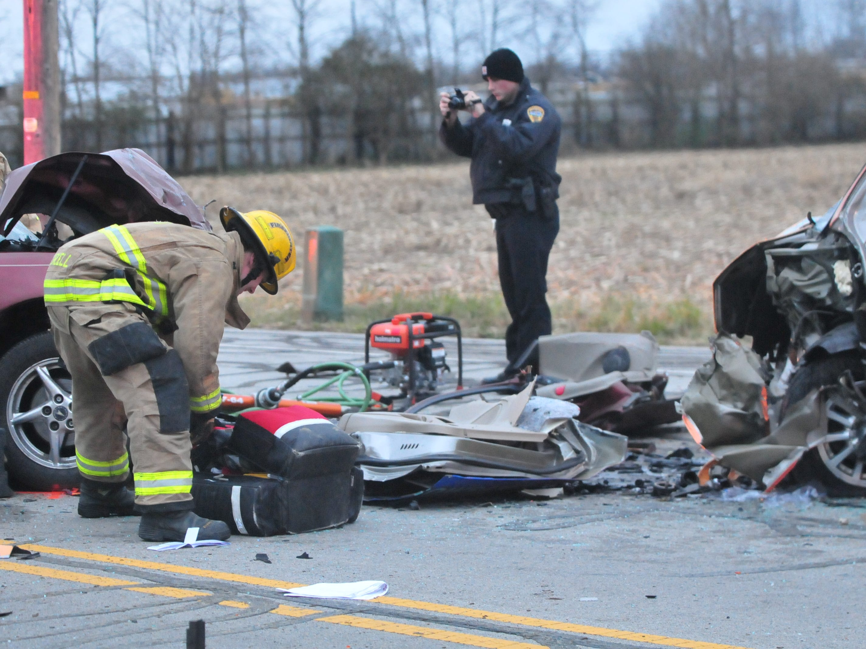 Debris sits between two vehicles involved in a Tuesday accident on Salisbury Road just north of Rich Road.