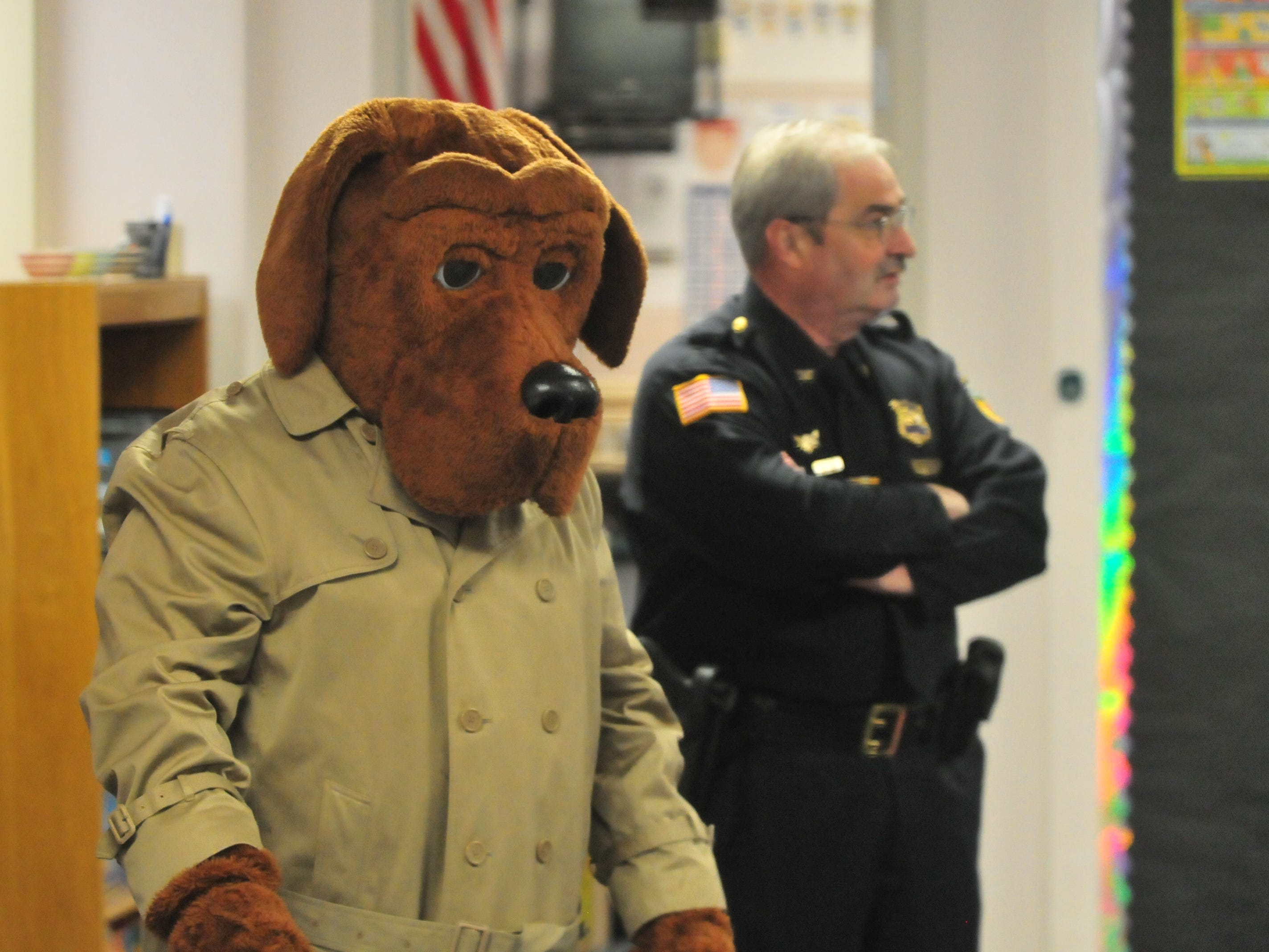 McGruff the Crime Dog and Chief Jim Branum visited a Vaile Elementary kindergarten class Tuesday.