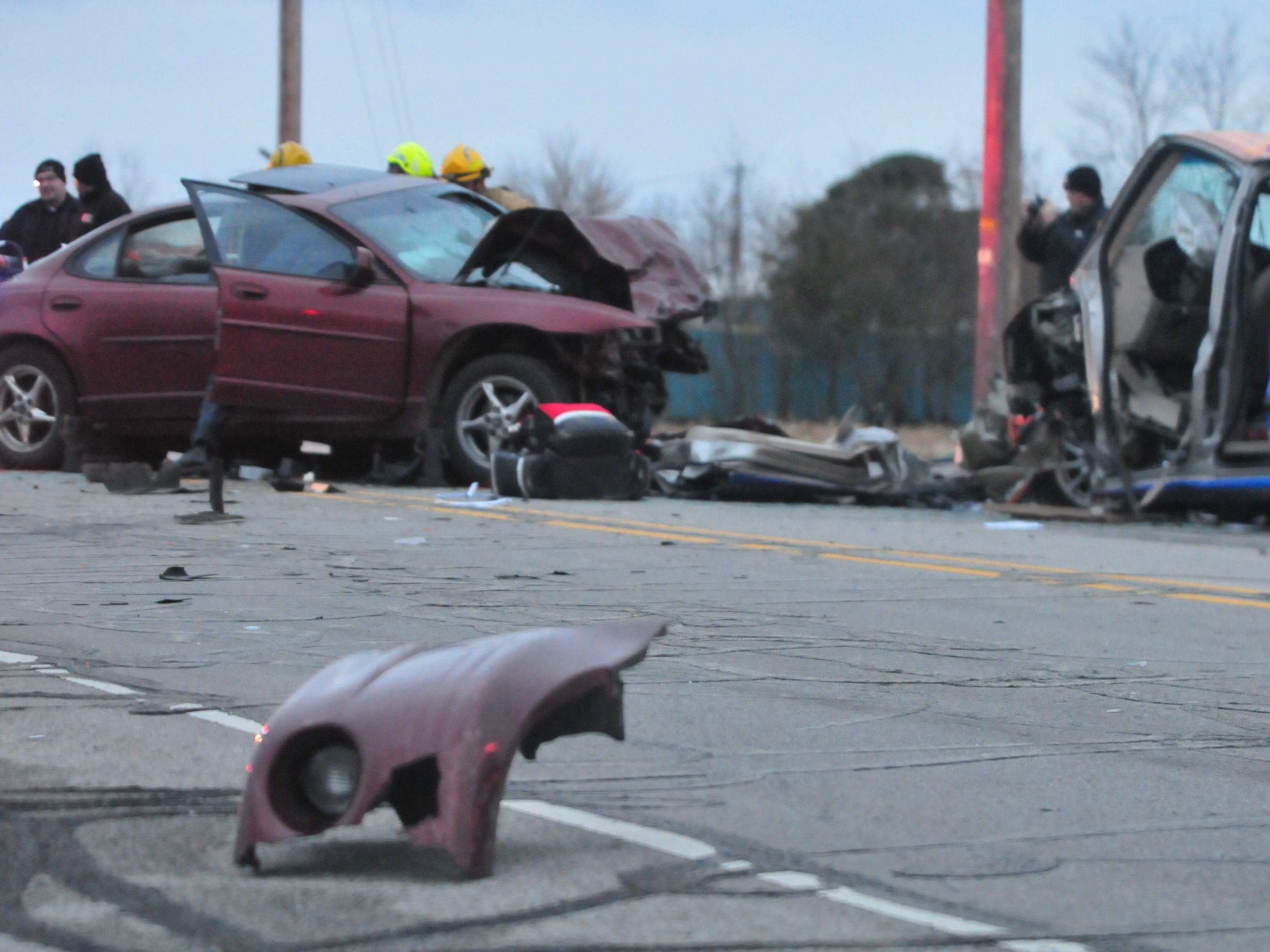 Debris was scattered across the roadway following a two-vehicle accident Tuesday on Salisbury Road.