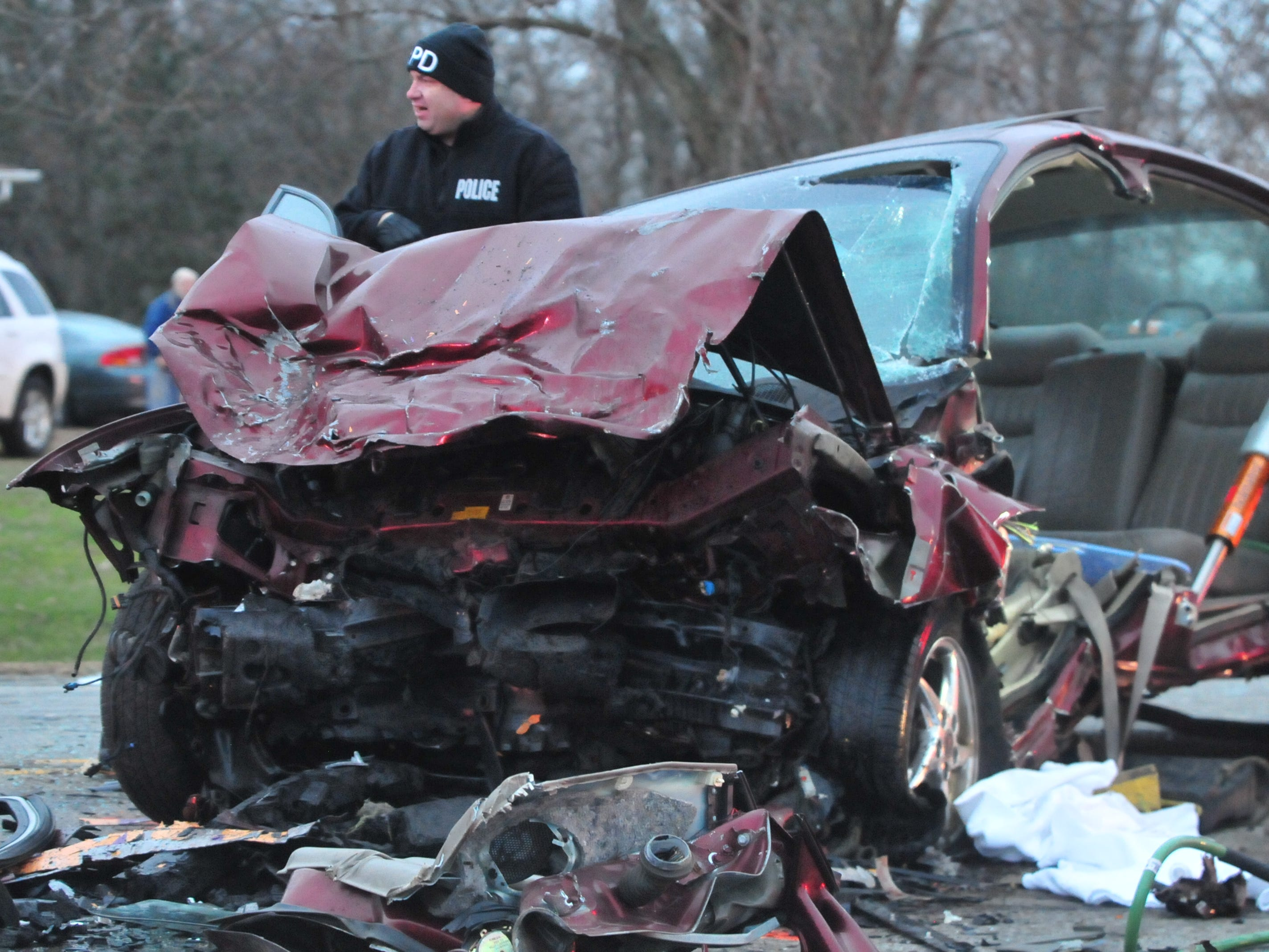 A Pontiac Grand Prix was damaged Tuesday in a head-on collision with a Ford van on Salisbury Road.