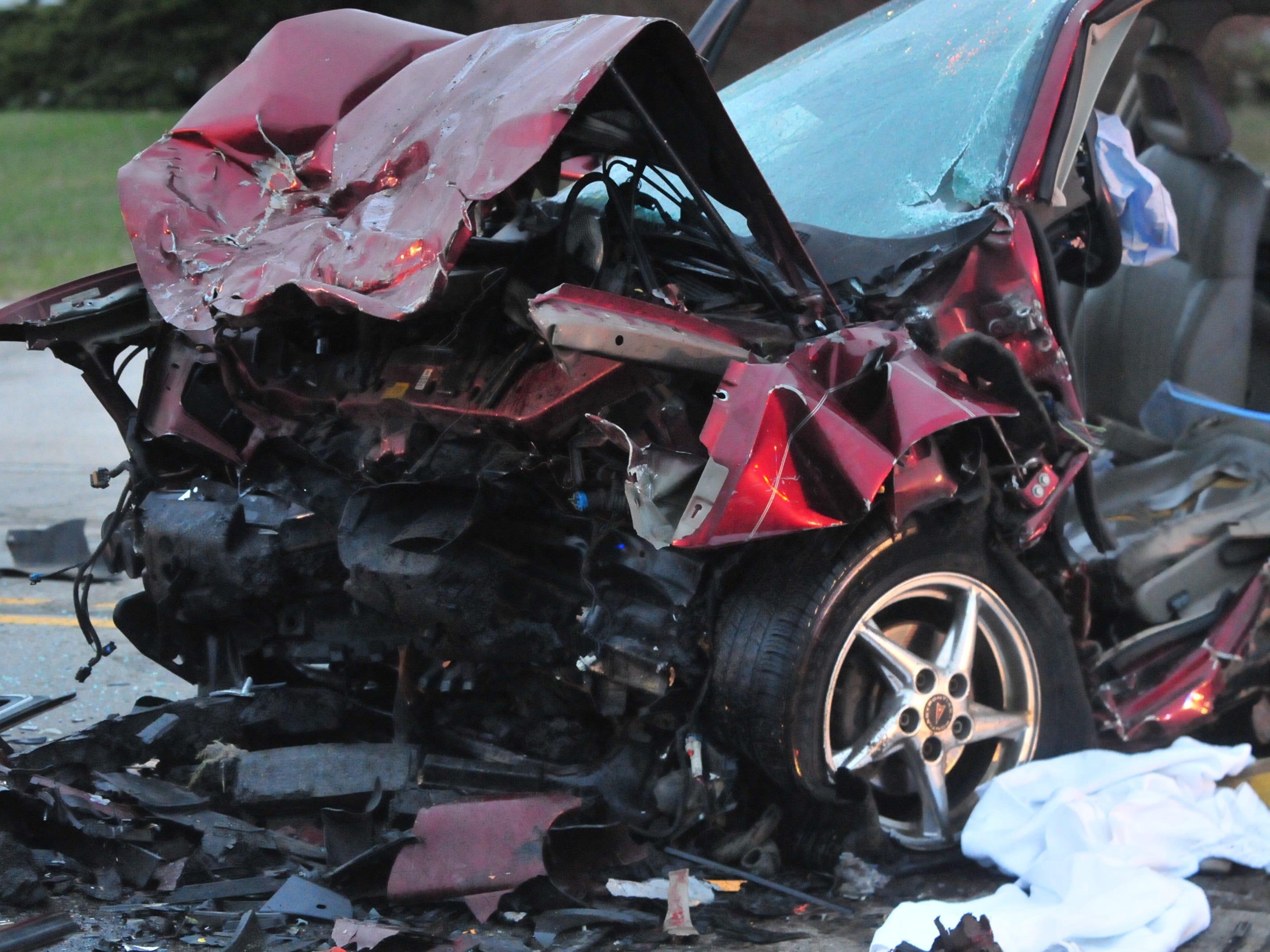 A Pontiac Grand Prix was damaged during a head-on collision Tuesday on Salisbury Road.