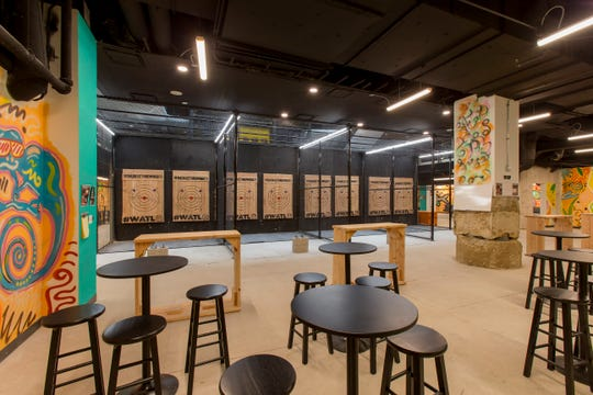 The inside of a Bad Axe Throwing location. The Ontario, Canada-based chain will open at 123 Liberty Pole Way on April 12.