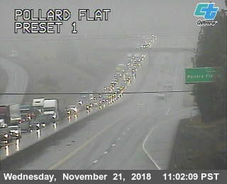 This November 21, 2018 screenshot  shows traffic piling up on southbound Interstate 5 at 11:02 a.m. after a big rig carrying Christmas trees jackknifed near there.