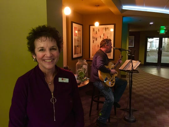 Debbie Edwards, host at the Woodside Grill attached to the Gaia Hotel in Anderson.
