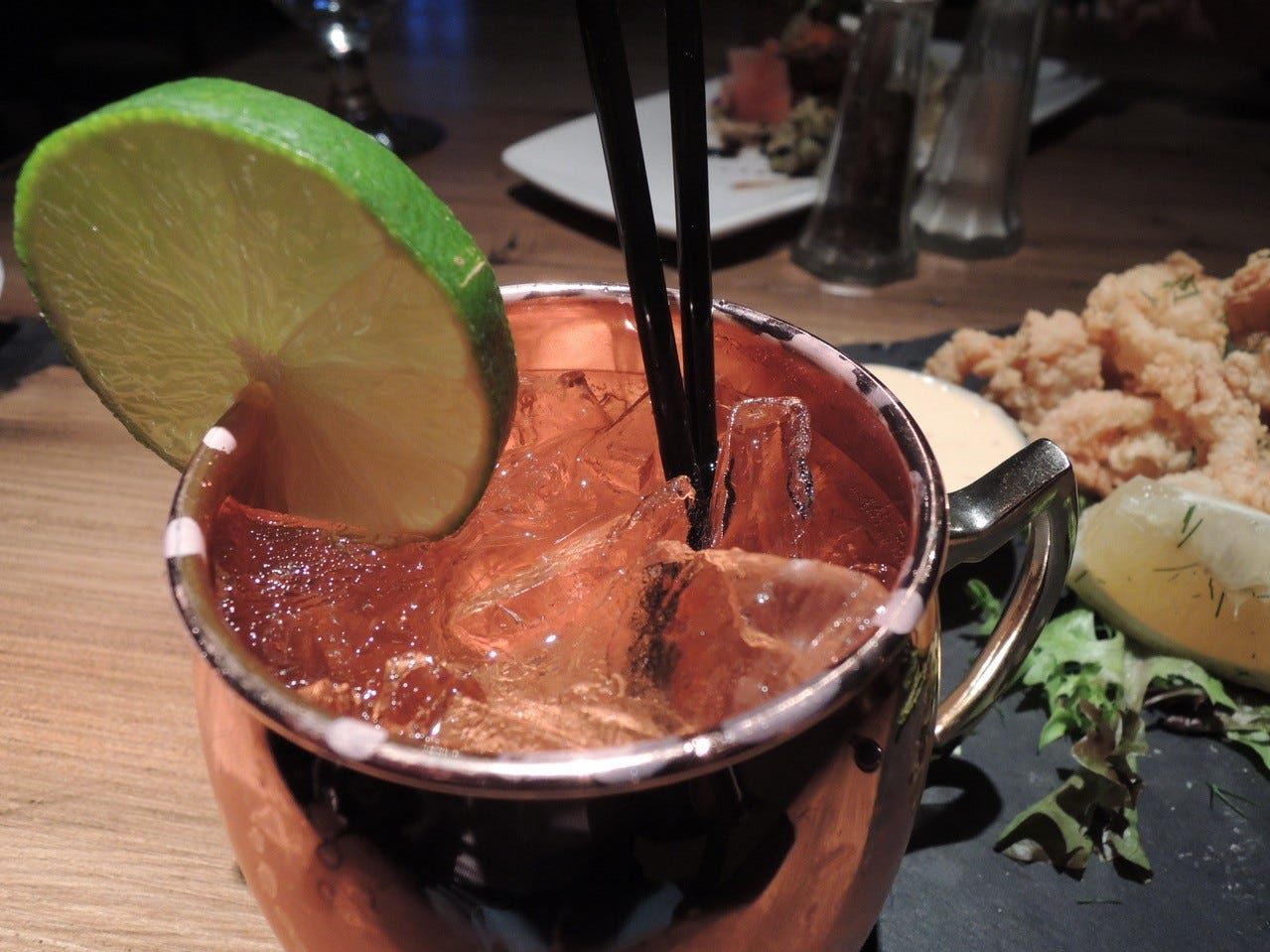 A refreshing virgin Moscow Mule from the bar at the Woodside Grill.