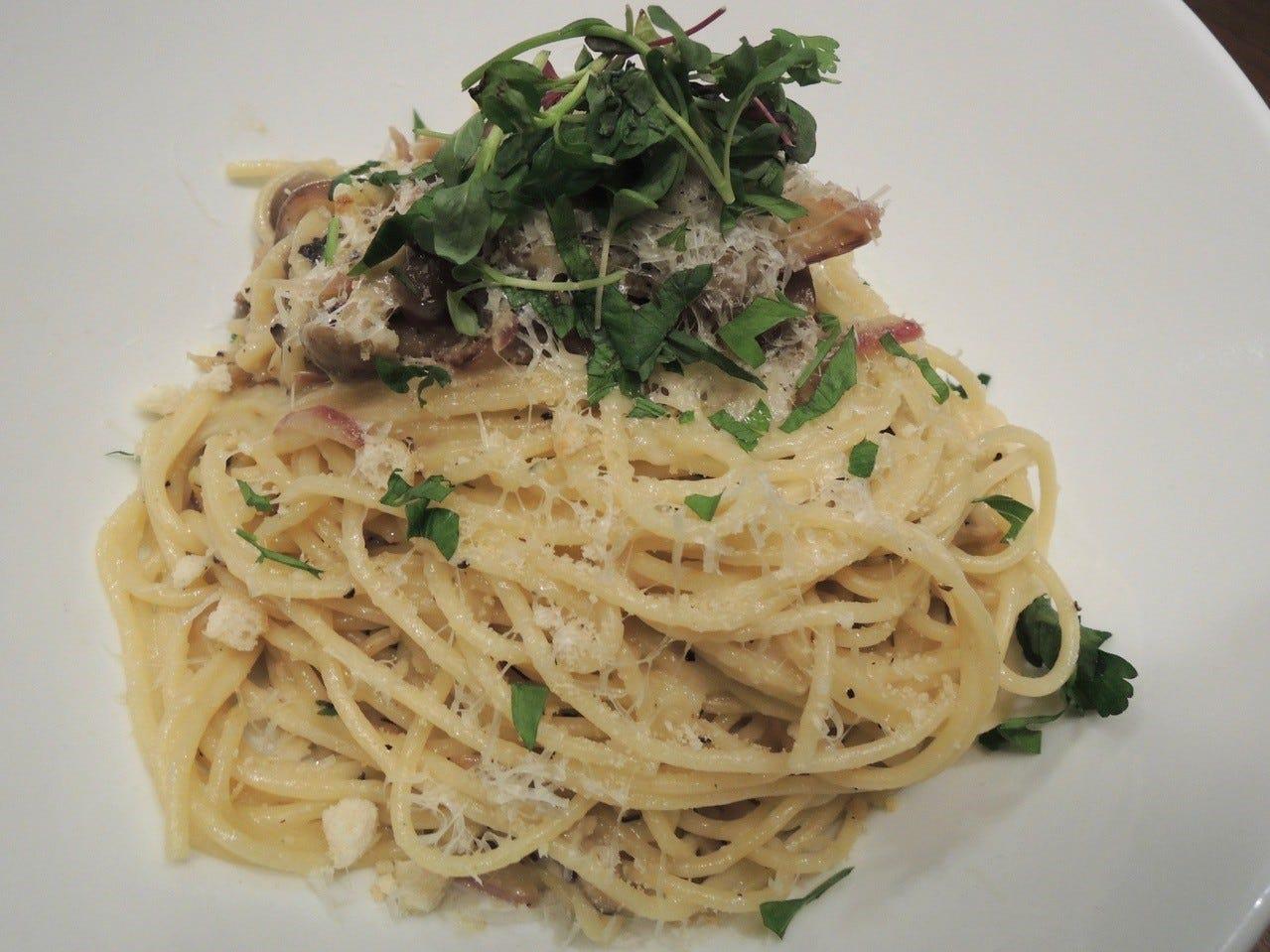 The crème fraiche pasta with wild mushrooms.