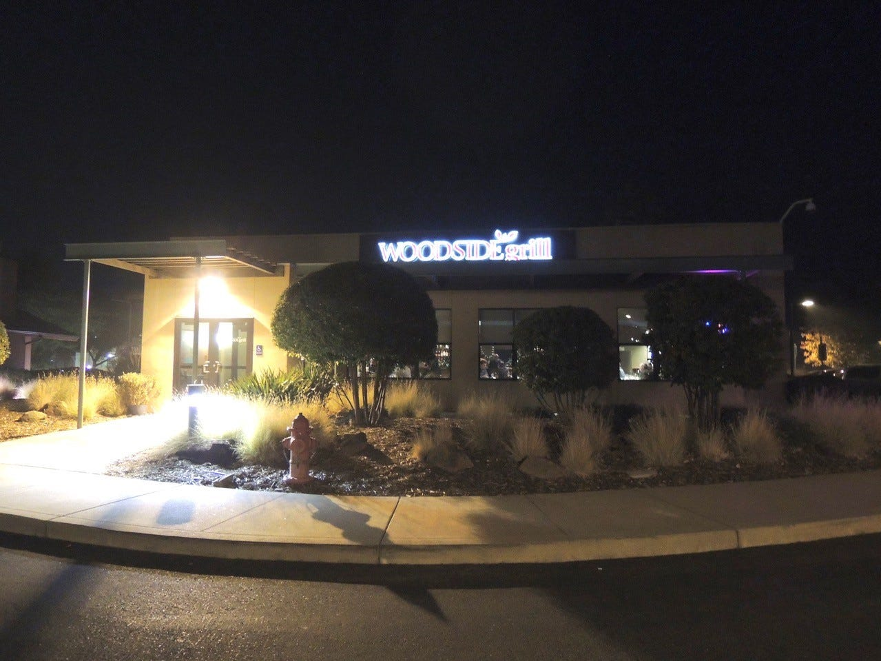 Entrance to the Woodside Grill, attached to the Gaia Hotel in Anderson.