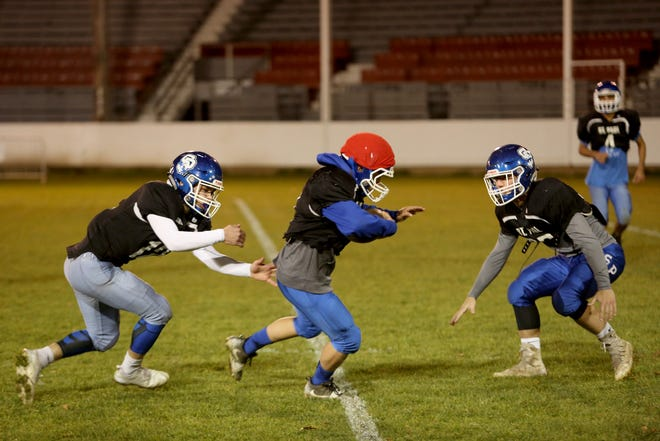 St. Paul practices ahead of the Statesman Journal Game of the Week, the St. Paul vs. Dufur OSAA Class 1A football state championship at the St. Paul Rodeo Arena on Tuesday, Nov. 20, 2018.