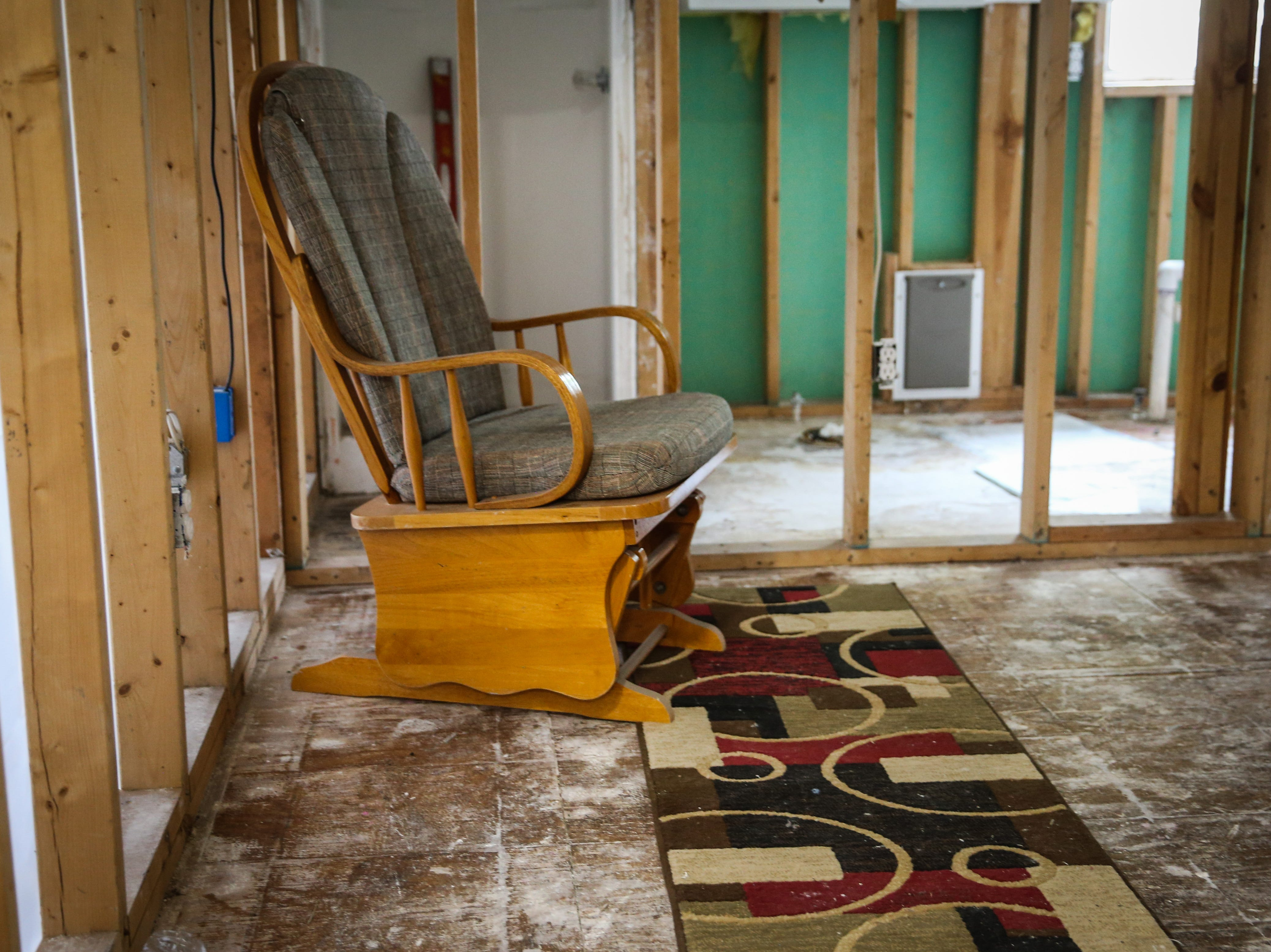 The damaged sheetrock is removed from Sonora Police Chief Arturo Fuentes' home Nov. 8, 2018, after the Sept. 21 flood.