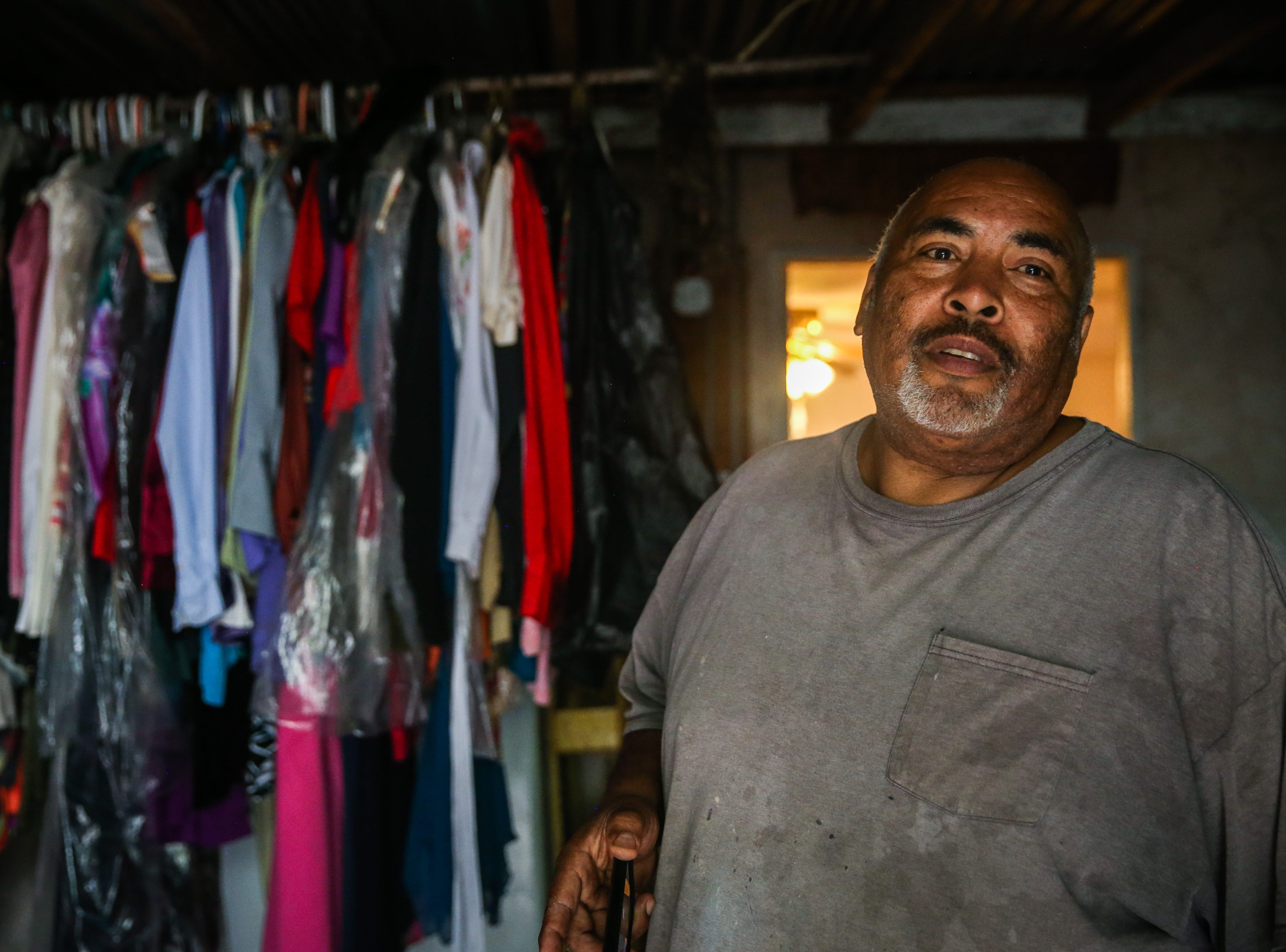 Felip DeHoyos talks about saving items and clothes that belonged to his mother Nov. 8, 2018, during the Sept. 21 flood in Sonora. DeHoyos lost his mother two years ago and is rebuilding the family home in her honor.