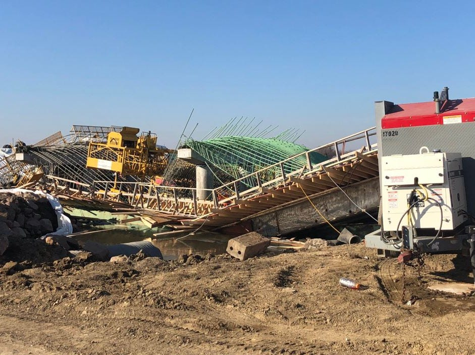 Three construction workers were injured when a bridge they were working on collapsed in rural Turner County.