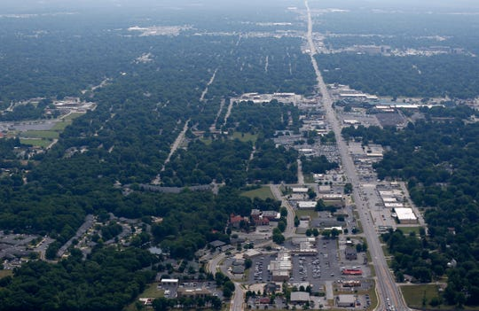 An aerial shot of Sunshine Street looking East.