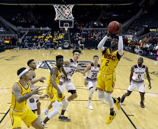 Southern California's Jonah Mathews (2) puts up a shot during the first half of an NCAA college basketball game against Missouri State Tuesday, Nov. 20, 2018, in Kansas City, Mo. (AP Photo/Charlie Riedel)