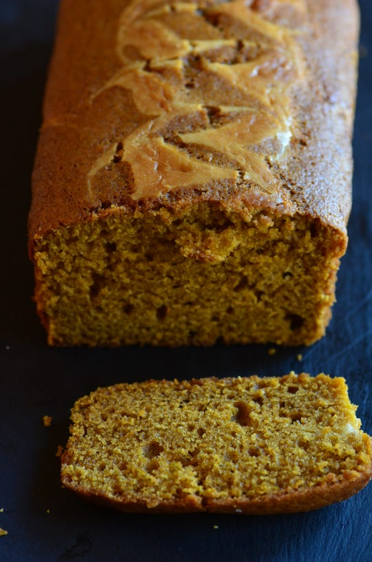 The Pumpkin Swirl Bread ($7.99 a loaf) at Neighbor's Mill has great texture and some density but is very moist.