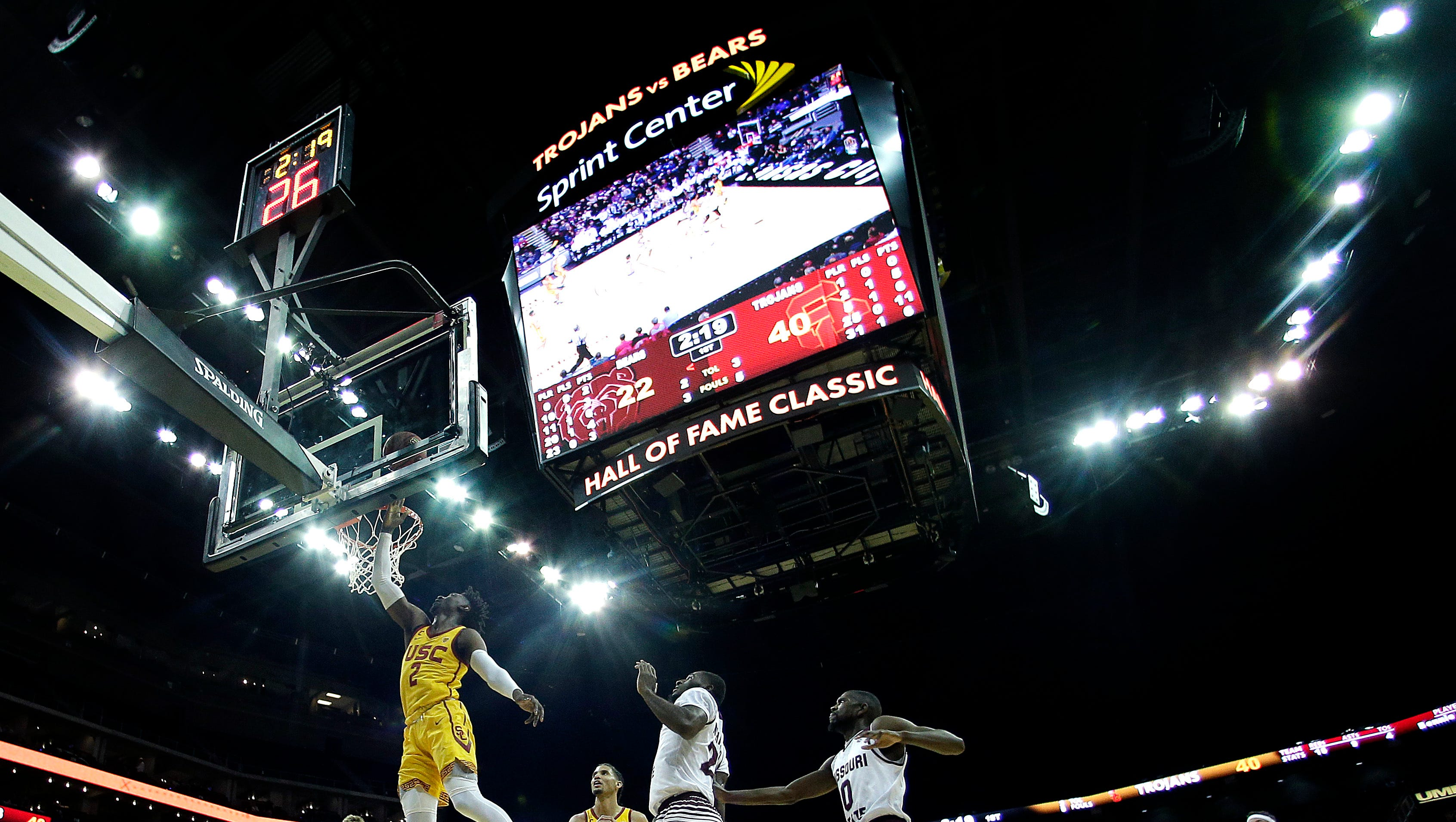 Southern California's Jonah Mathews (2) dunks the ball during the first half of an NCAA college basketball game against Missouri State Tuesday, Nov. 20, 2018, in Kansas City, Mo. (AP Photo/Charlie Riedel)