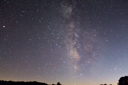 The Milky Way soaring over Tyler Bend visitors center on the Buffalo National River.