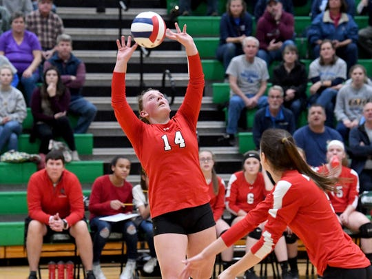 Riverheads' Dayton Moore sets the ball during the VHSL Class 1 state championship volleyball match played in Roanoke on Tuesday, Nov. 20, 2018.