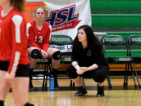 Riverheads head coach Nyssa Stapleton (right) watches the action on the court from in front of the bench next to player Sarah Campbell during the VHSL Class 1 state championship volleyball match played in Roanoke on Tuesday, Nov. 20, 2018.