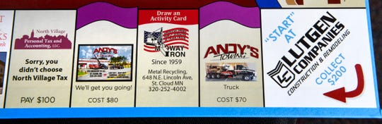 """Tom Dukowitz's new board game """"Greater St. Cloud Area Opoly"""" is shown Wednesday, Nov. 21, uses local businesses."""