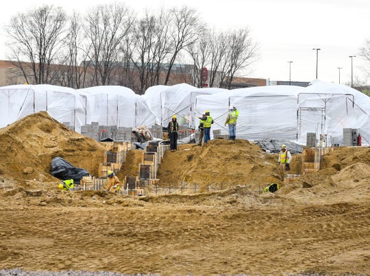 Construction on a new senior living community is underway Wednesday, Nov. 21, along Minnesota Highway 15 in St. Cloud.