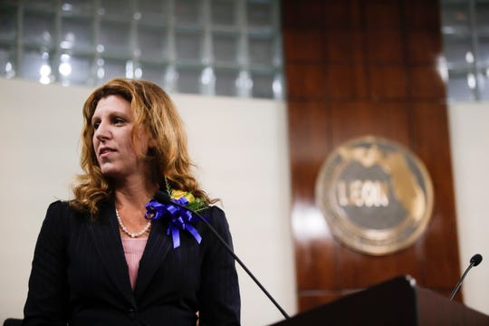 Leon County Commissioner Kristin Dozier speaks after being sworn in during the commission's reorganization and installation meeting Tuesday, Nov. 20, 2018.