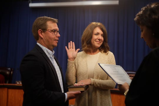 Re-elected School Board Member Alva Swafford Striplin is sworn in during the Leon County School Board reorganization meeting at the Howell Center Tuesday, Nov. 20, 2018.