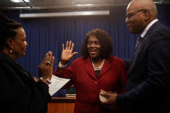 "Re-elected School Board Member Georgia ""Joy"" Bowen is sworn in during the Leon County School Board reorganization meeting at the Howell Center Tuesday, Nov. 20, 2018."