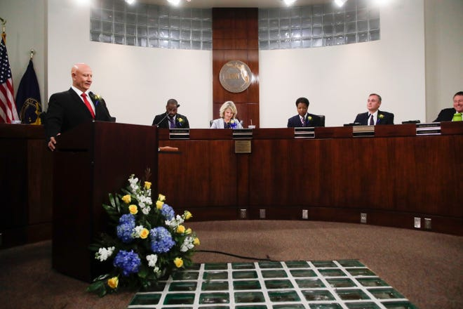 County Commissioner Jimbo Jackson speaks after being elected to chairman during the County Commission reorganization and installation meeting Tuesday, Nov. 20, 2018.