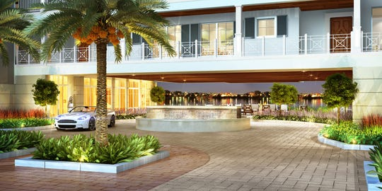 This rendering shows the entryway and view of the St. Lucie River at Seminole Bluff, a 20-unit condo complex expected to open in December 2019.