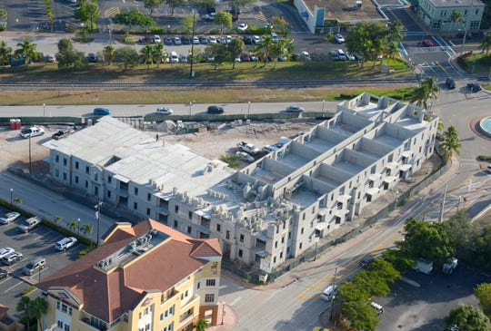 This photo shows construction progress on the Azul Apartment complex as of mid-October.