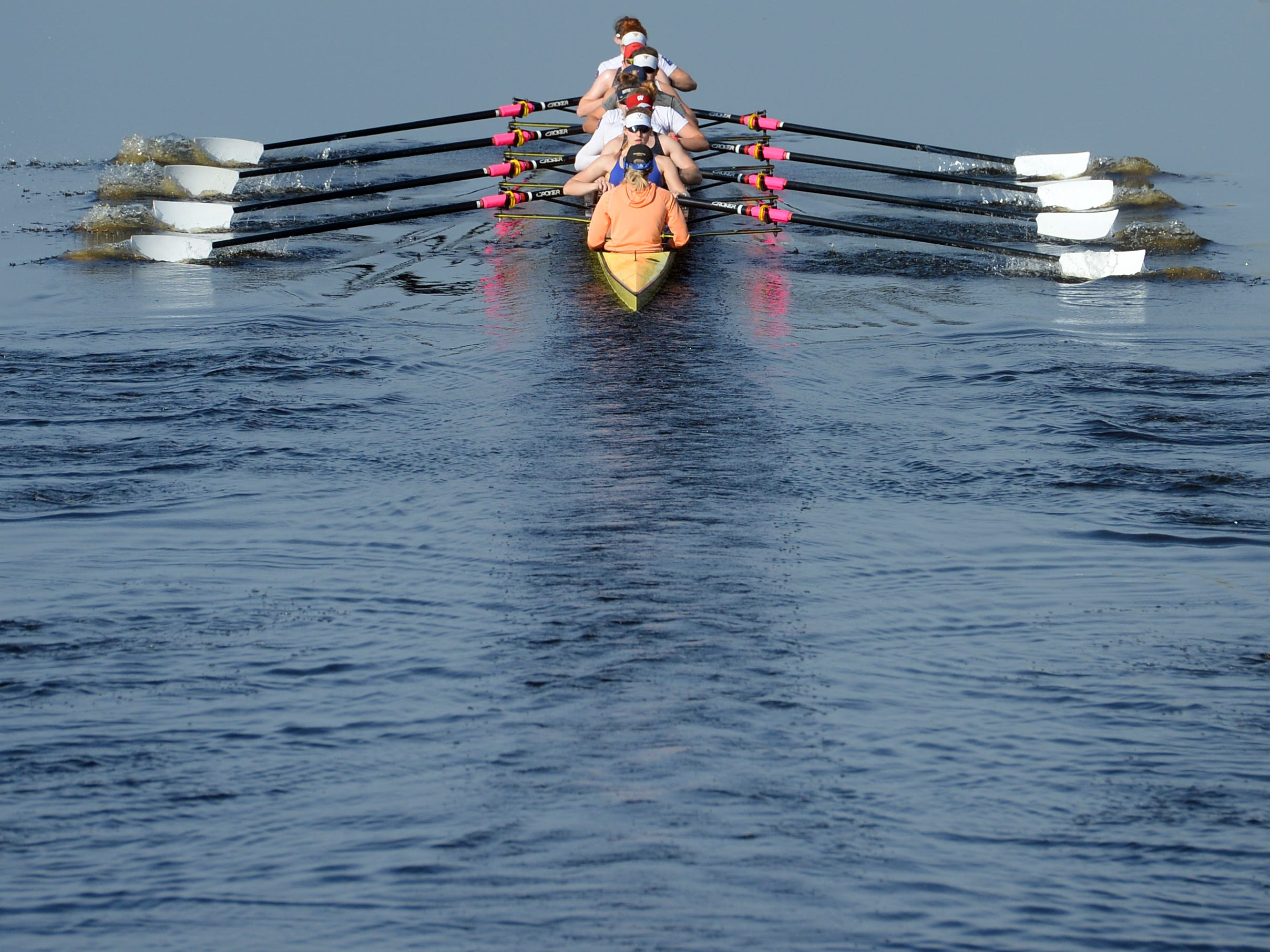 The U.S. Women's National Rowing Team is on a 10-day winter training session on the C-54 Canal north of Fellsmere. The warm temperatures, narrow waterway and lack of wind and wave disturbance makes the canal an ideal place to hold practice.