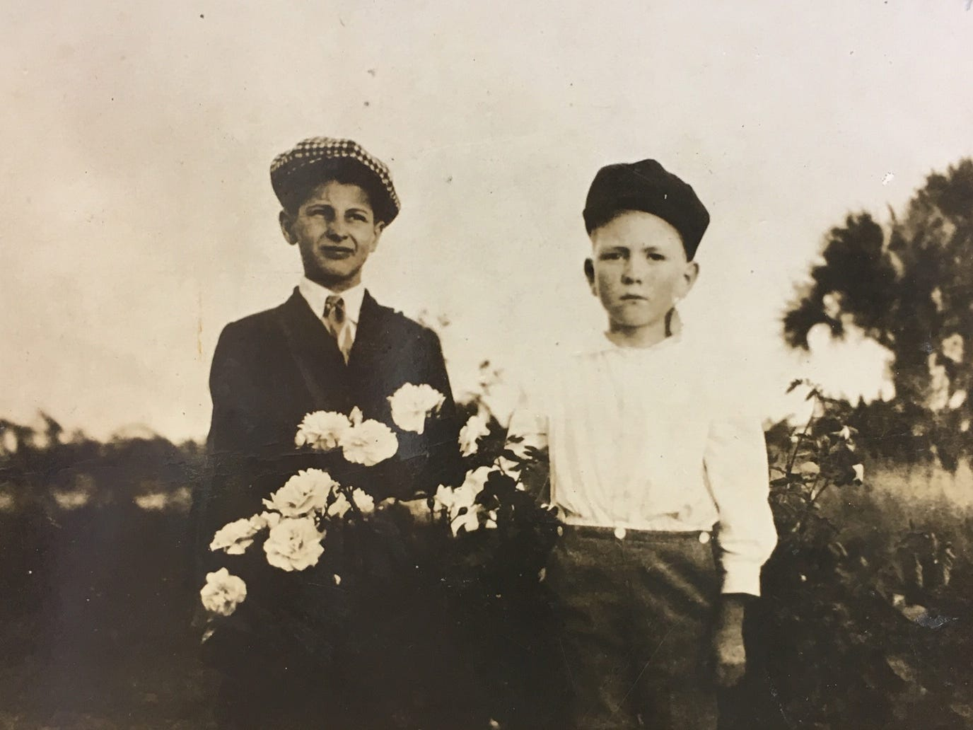 Two boys in the white rose bed on Dr. Barber's place in Indian River Farms, January 10, 1917.