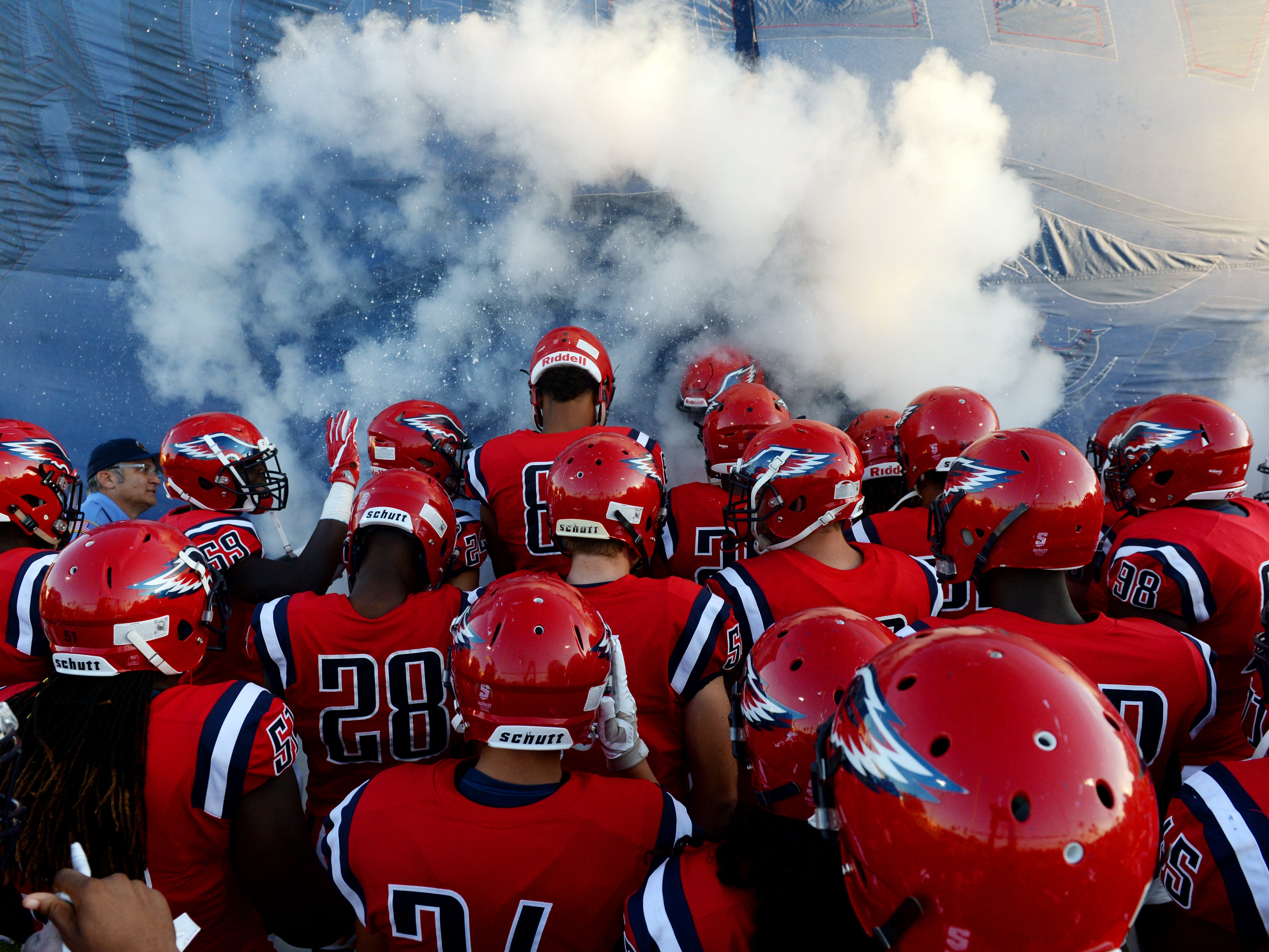 St. Lucie West Centennial High School hosted Melbourne High School on Friday, Sept. 14, 2018, at South County Regional Stadium. Centennial won the game 54-0.