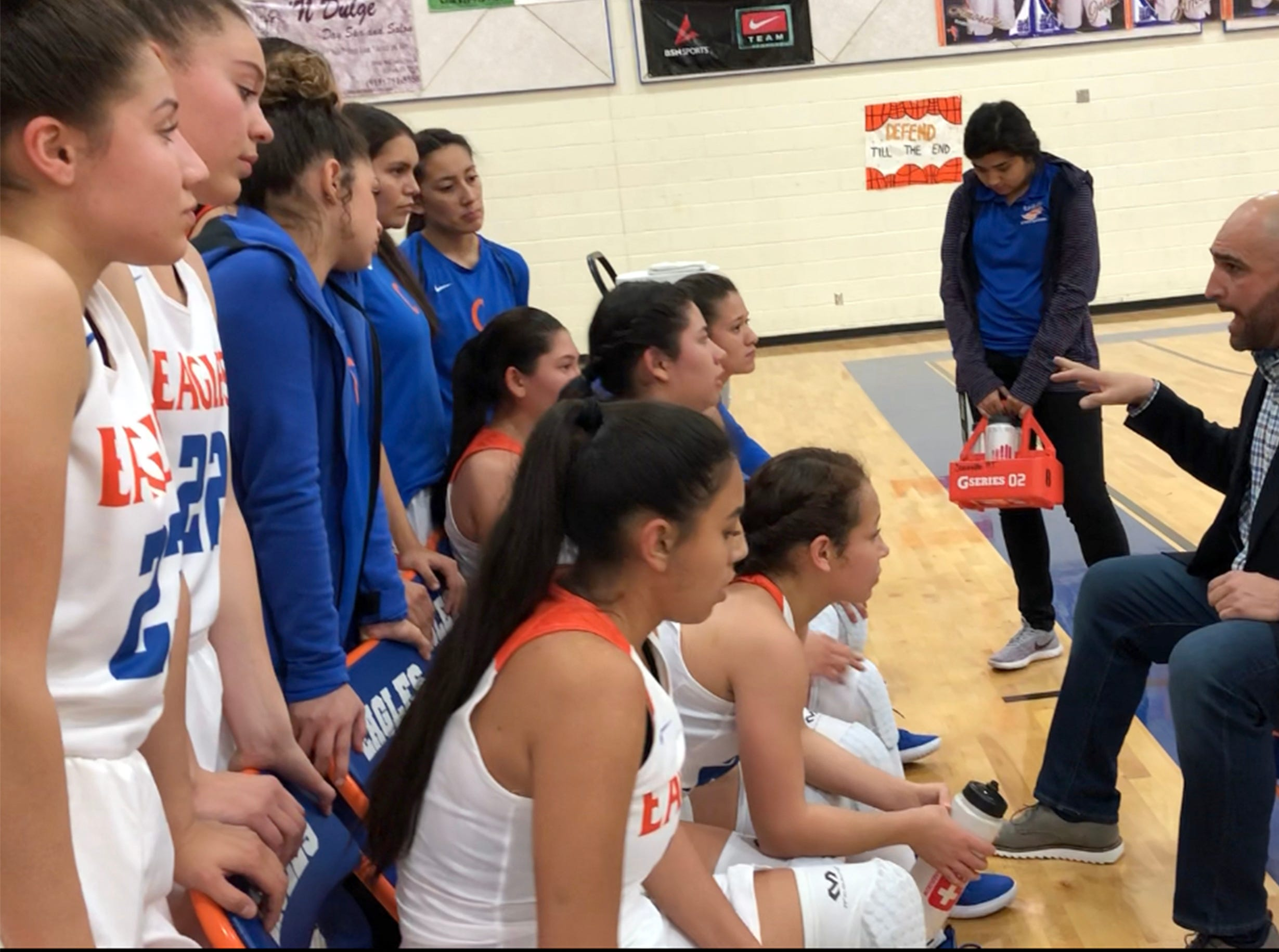 Canutillo huddles during a time out Tuesday night.