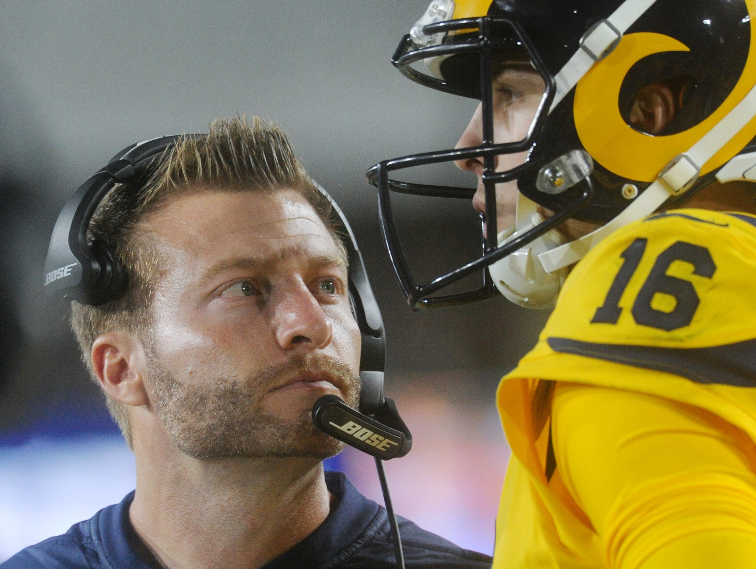 Rams coach Sean McVay talks with Jared Goff in a Monday night game against the  Chiefs at the Coliseum.